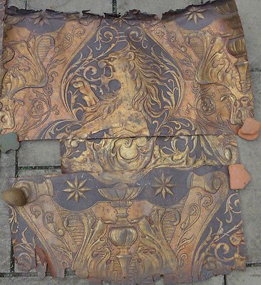 Early Spanish Or Dutch Gilded Polychrome Embossed Leather Wall Panel