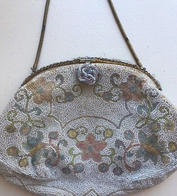 Vintage Walborg Hand Beaded Made in France Cream / Floral Evening Bag Purse