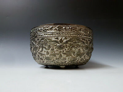Antique Indian Burmese Persian South East Asian White Metal / Silver Plated Bowl