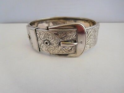 Lovely Quality English Sterling Silver Buckle Bangle - Chester 1940