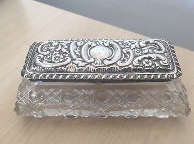 Antique Sterling Silver & Cut Glass Vanity Box- Levi & Salaman 1906