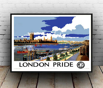 London Pride : Vintage Travel advert, Wall art ,poster, Reproduction.