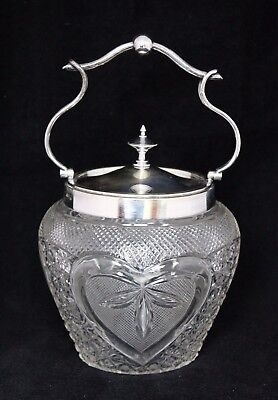 Antique English Robert Pringle Silverplate & Crystal BISCUIT BARREL Cookie Jar