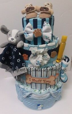 puppy diaper cake for boy blues