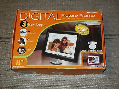 """Brand New Opti Pix Pro Smartparts 11"""" Lcd Digital Wood Picture Frame"""