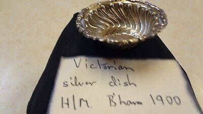 Antique Solid Silver Fluted Pin Dish 1900