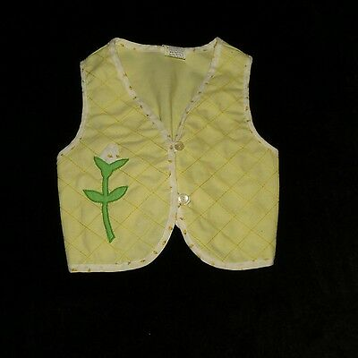 Adorable Baby Togs Girl's Yellow Vest Floral Trim Applique Evc 2T