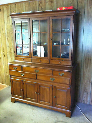"Vtg 77""h x 64""w Baker Milling Road Mahogany Breakfront Bookcase China Cabinet"