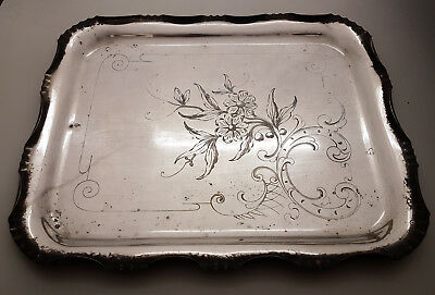 South American Mexican German Austrian Antique Alpaca Silver / White Metal Tray