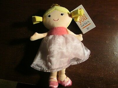 NWT Just one you Carter's plush doll lovey in pink dress blonde hair tiara crown