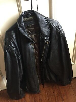 Port Authority Men's Black XL Leather Bomber Jacket Pre Owned Very Soft