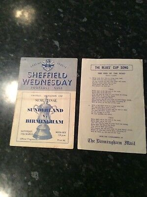 Fa Cup Semi Final 1956 Sunderland V Birmingham With Songsheet At Sheff Wednesday