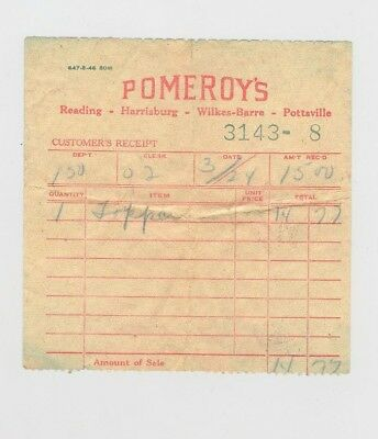 Pomeroy's Department Store Sales Receipt Vintage