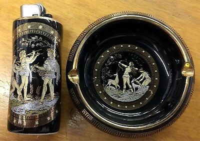 Hand Made Ashtray Lighter Case Greece 24K Gold Decorations