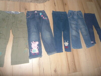 5 Pairs of Girls Jeans, Leggings, bottoms 3-4 Years inc Peppa Pig, Tatty Teddy