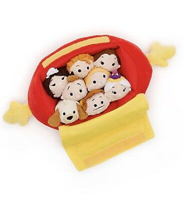 Disney Store Tsum Tsum Beauty And The Beast Bag Carry Case Mini Soft Toy Set