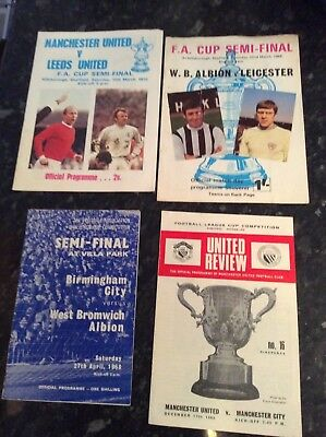 4 X Fa Cup / League Cup Semi Finals From 1968 To 1970 Man Utd, Leeds, Man City