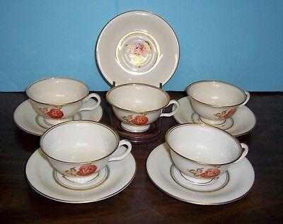 Lot Of 5 Castleton June Cups And Saucers Never Used  Free U S Shipping