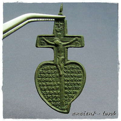 ** Medallion Cross ** Ancient Byzantine Bronze Pendant!!! R A R E