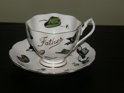 """Queen Anne Fine bone China England FATHER """"Many Hats"""" Tea Cup & Saucer Scalloped"""