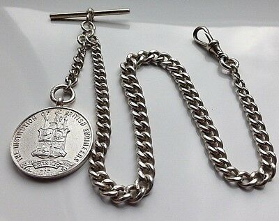 Antique 1911 Solid Silver Graduated Albert Pocket Watch T-Bar Chain - By E.P