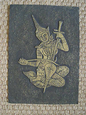 Vintage Asian Embossed Print - Traditional Thailand Costume / Musical Instrument