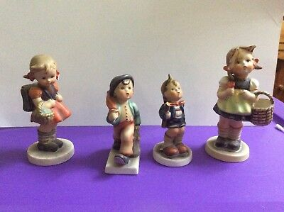 Lot 4 Goebel,Hummel,Handpainted Merry Wanderer,3 other figurine,Need to Restore