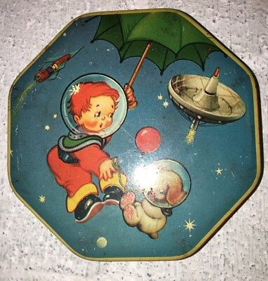Vtg Tin Space Shuttle Red Boy Dog Cremona Toffee England A S Wilkin