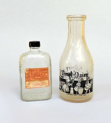 Two Vintage Bottles CARMEL-BY-THE-SEA CALIF. Carmel Dairy & Drug Store