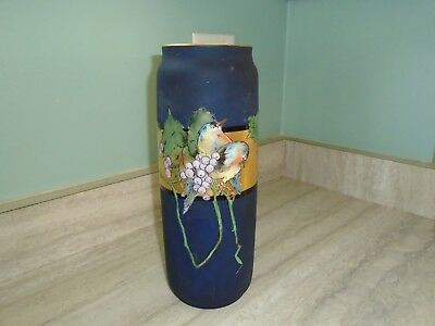 Antique L. Bernardaud & Co France Tall Hand Painted Vase Heavy Gold & Birds