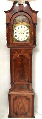 Slimline Antique English Flame Mahogany 8 Day Longcase Grandfather Clock C1770
