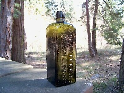 Early Crude and Green Dr J Hostetters Bitters Bottle