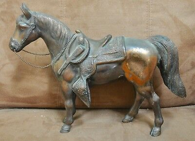 Vintage Pot Metal Copper Color Carnival Prize Rodeo Horse with Rifle
