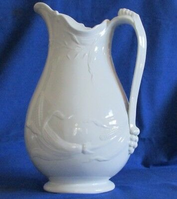 1863 J Wedgwood White Ironstone Corn & Oats Large Pitcher Ewer ~ Diamond Mark