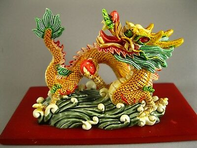 Chinese Dragon Statue Chasing Fire Ball ~ Colorful