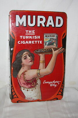 RARE Antique MURAD Turkish Cigarette Double Sided Enameled Metal Store Sign