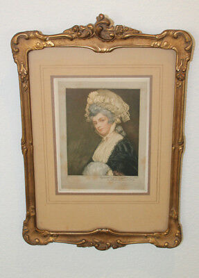 Antique Mezzotint print in gold frame by E.M. Hester after George Romney