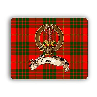 Cameron Scottish Clan Mouse Pad with Crest and English Motto
