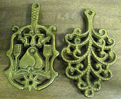 """Two Vintage Small 5"""" Brass Trivets - Tree of Life & 1 Marked Wilton"""
