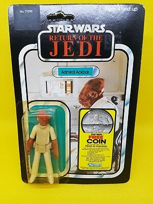 Star Wars Vintage Admiral Ackbar Rotj 77 Back Coin Offer Moc