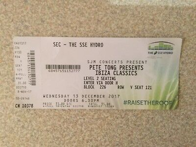 Pete Tong Presents Ibiza Classics Concert Ticket Glasgow SSE Hydro 13 Dec 2017