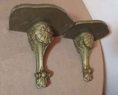 pair of antique ornate hand carved gold gilded wood wall shelves shelf corbels
