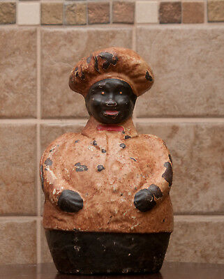 Large  Antique Cast Iron African American Chef Still Bank Circa: 1930's