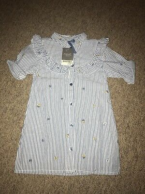 Next Girls Floral Stripe Blue And White Shirt. 18-24 Months. 1.5-2 Years. BNWT.