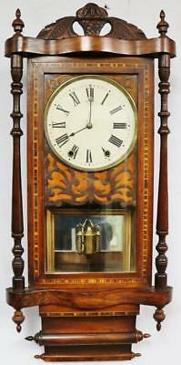 Stunning Antique American Inlaid Flamed Mahogany Carved Striking Wall Clock