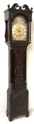Antique English Carved Oak Longcase Clock Brass Dial 8Day Grandfather Clock 1780
