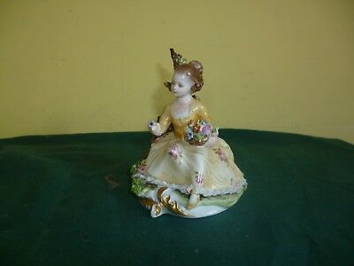 Capodimonte Figurines Of Girl Sitting Signed D.belloire