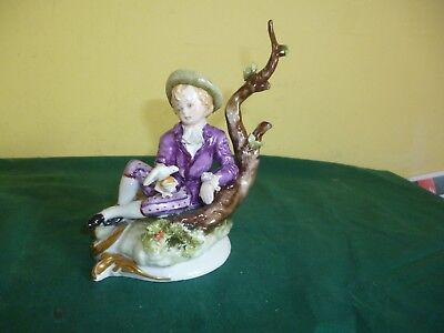 Capodimonte Figurines Of Boy Sitting Signed D.belloire
