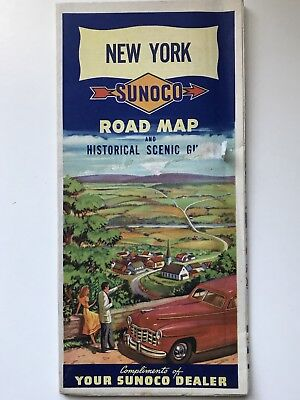 1948 Sunoco New York State Road Map