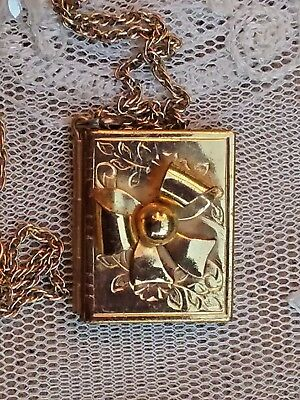Vintage Gold Tone Metal Book Shape Bow Locket With Chain